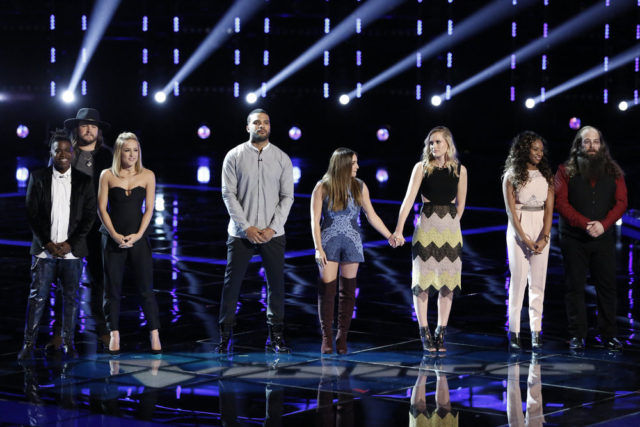 "THE VOICE -- ""Live Semi Finals"" Episode 1017B -- Pictured: (l-r) Paxton Ingram, Adam Wakefield, Mary Sarah, Bryan Bautista, Alisan Porter, Hannah Huston, Shalyah Fearing, Laith Al-Saadi -- (Photo by: Tyler Golden/NBC)"