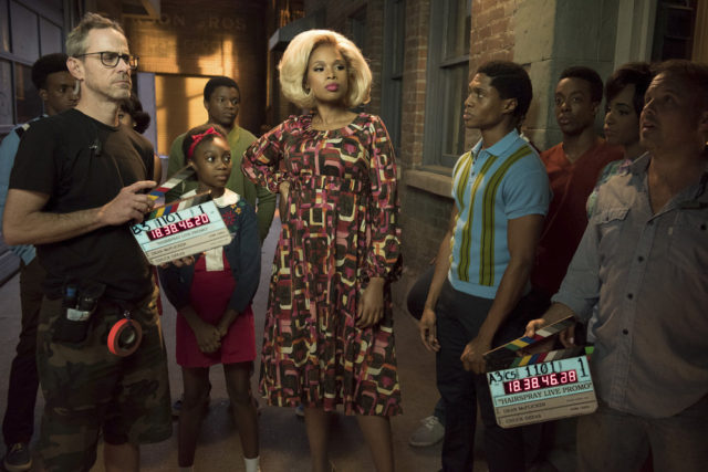 HAIRSPRAY LIVE! -- BTS Promo -- Pictured: (l-r) Shahadi Wright Joseph as Little Inez, Jennifer Hudson as Motormouth Maybelle, Ephraim Sykes as Seaweed J. Stubbs -- (Photo by: Colleen Hayes/NBC)