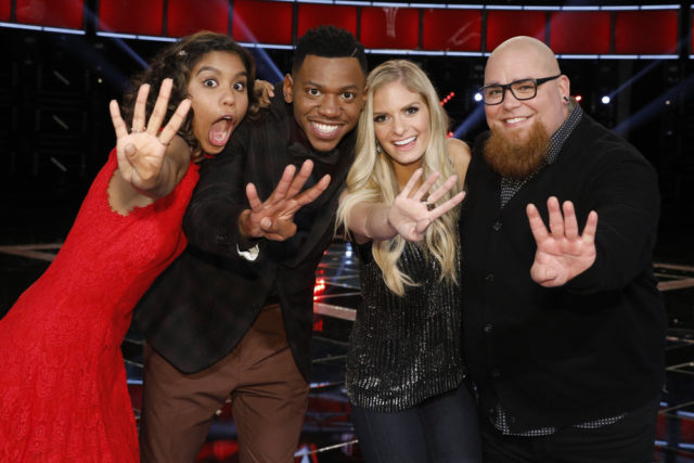 "THE VOICE -- ""Live Semi Finals"" Episode: 1218B -- Pictured: (l-r) Aliyah Moulden, Chris Blue, Lauren Duski, Jesse Larson -- (Photo by: Trae Patton/NBC)"