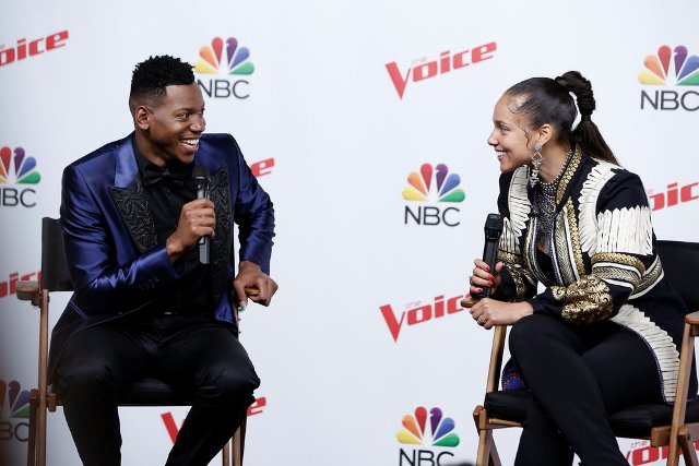 "THE VOICE -- ""Live Finale? Episode 1219B -- Pictured: (l-r) Chris Blue, Alicia Keys -- (Photo by: Tyler Golden/NBC)"