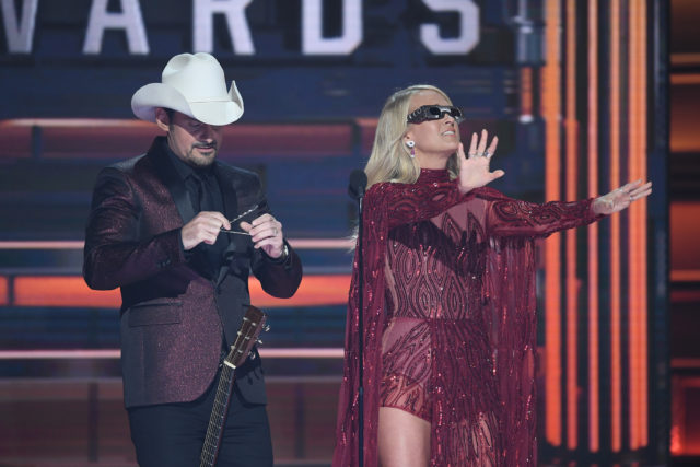 "THE 51ST ANNUAL CMA AWARDS - ""The 51st Annual CMA Awards,"" hosted for the 10th year by Brad Paisley and Carrie Underwood, airs live from Bridgestone Arena in Nashville, WEDNESDAY, NOV. 8 (8:00-11:00 p.m. EST), on The ABC Television Network. (ABC/Image Group LA) BRAD PAISLEY, CARRIE UNDERWOOD"