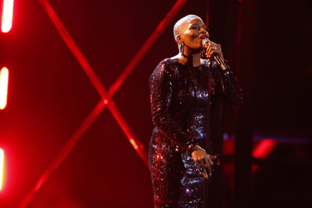 "THE VOICE -- ""Live Top 12"" Episode 1317A -- Pictured: Janice Freeman -- (Photo by: Trae Patton/NBC)"