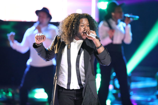 "THE VOICE -- ""Live Top 12"" Episode 1317A -- Pictured: Davon Fleming -- (Photo by: Tyler Golden/NBC)"