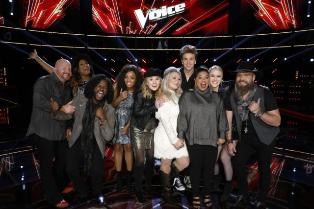 "THE VOICE -- ""Live Top 11"" Episode 1318B -- Pictured: (l-r) Red Marlow, Keisha Renee, Davon Fleming, ShiAnn Jones, Addison Agen, Ashland Craft, Noah Mac, Brooke Simpson, Chloe Kohanski, Adam Cunningham -- (Photo by: Trae Patton/NBC)"