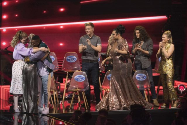 "AMERICAN IDOL - ""114 (Top 10 Reveal)"" - America's votes are in and live shows begin, as the top 14 contestants perform and the top 10 finalists are revealed, as the search for America's next superstar continues on its new home on America's network, The ABC Television Network, MONDAY, APRIL 23 (8:00-10:00 p.m. EDT). (ABC/Eric McCandless) CATIE TURNER, MICHAEL J. WOODARD, CALED LEE HUTCHINSON, ADA VOX, CADE FOEHNER, MADDIE POPPE"