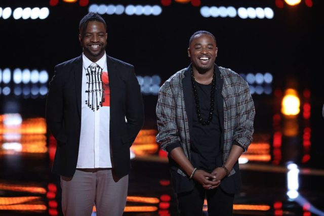 "THE VOICE -- ""Live Top 12"" Episode 1415B -- Pictured: (l-r) D.R. King, Rayshun Lamarr -- (Photo by: Tyler Golden/NBC)"