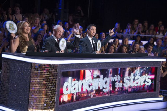 "DANCING WITH THE STARS - ""New York City Night"" - The 12 remaining couples take a bite out of the Big Apple and dance to iconic songs from the city that never sleeps, as New York City Night comes to ""Dancing with the Stars,"" live, MONDAY, OCT. 1 (8:00-10:00 p.m. EDT), on The ABC Television Network. (ABC/Eric McCandless) CARRIE ANN INABA, LEN GOODMAN, BRUNO TONIOLI"