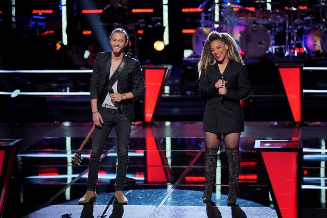 THE VOICE -- ?Blind Auditions/The Battles Premiere? Episode 1507 -- Pictured: (l-r) Cody Ray Raymond, Sandyredd -- (Photo by: Tyler Golden/NBC)