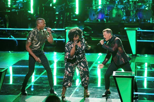 THE VOICE -- ?Battle Rounds? Episode 1508 -- Pictured: (l-r) Kymberli Joye (Center), OneUp -- (Photo by: Tyler Golden/NBC)