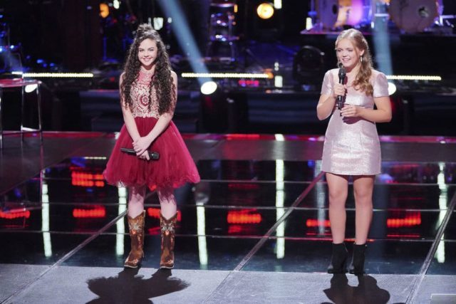 "THE VOICE -- ""Knockout Rounds"" Episode 1513 -- Pictured: (l-r) Chevel Shepherd, Sarah Grace -- (Photo by: Tyler Golden/NBC)"