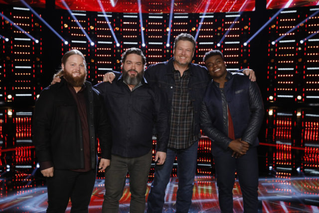 "THE VOICE -- ""Live Top 11 Results"" Episode 1516B -- Pictured: (l-r) Chris Kroeze, Dave Fenley, Blake Shelton, Kirk Jay -- (Photo by: Trae Patton/NBC)"