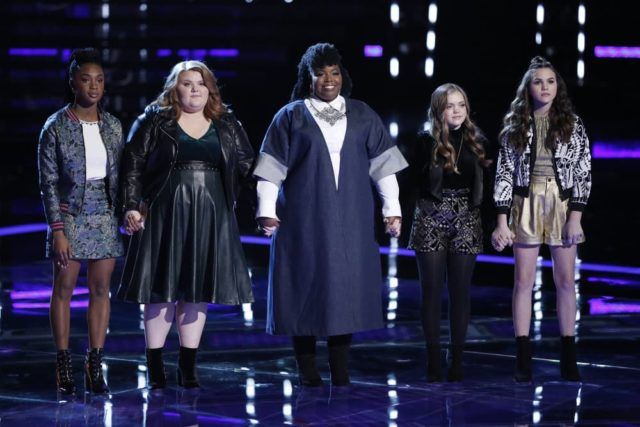 "THE VOICE -- ""Live Semi Finals Results"" Episode 1518B -- Pictured: (l-r) Kennedy Holmes, MaKenzie Thomas, Kymberli Joye, Sarah Grace, Reagan Strange -- (Photo by: Tyler Golden/NBC)"