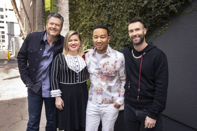 "THE VOICE -- ""Press Junket"" -- Pictured: (l-r) Blake Shelton, Kelly Clarkson, John Legend, Adam Levine at Universal Studios, Hollywood, Ca. on February 12, 2019 -- (Photo by: Trae Patton/NBC)"