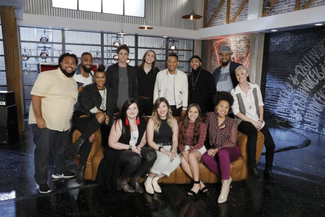 "THE VOICE -- ""Battle Reality"" -- Pictured: (l-r) Matthew Johnson, Denton Arnell, Lisa Ramey, Talon Cardon, Savannah Brister, Jacob Maxwell, Maelyn Jarmon, John Legend, Kayslin Victoria, Julian King, Oliv Blu, Shawn Sounds, Betsy Ade -- (Photo by: Trae Patton/NBC)"