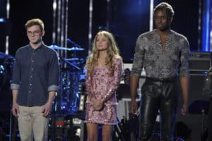 """AMERICAN IDOL - """"210 (All-Star Duets)"""" - Ten of the Top 20 finalists perform duets with all-star celebrity partners from The Wiltern in Los Angeles, as the search for America's next superstar continues on The ABC Television Network, SUNDAY, APRIL 7 (8:00-10:01 p.m. EDT), streaming and on demand. Following the performances and during a shocking elimination, the """"American Idol"""" judges will determine which seven finalists will advance to the Top 14 and get the chance to perform for America's vote. (ABC/Eric McCandless) WALKER BURROUGHS, RILEY THOMPSON, UCHE"""