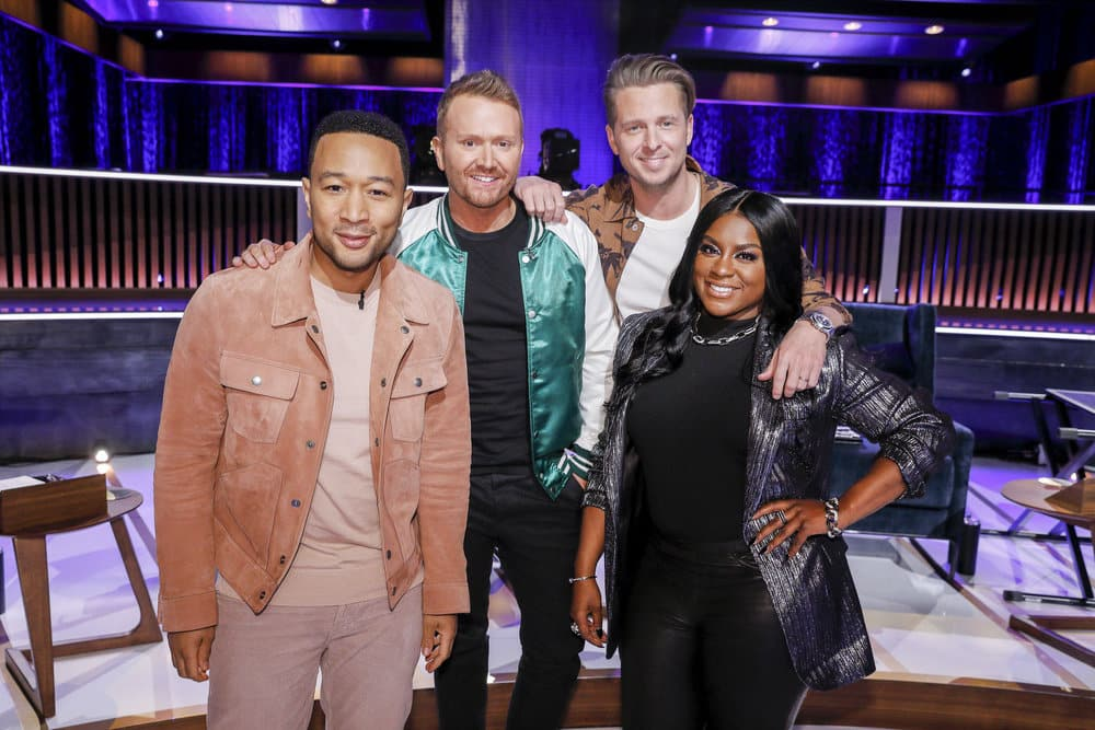 SONGLAND -- Episode X -- Pictured: (l-r) John Legend, Shane McAnally, Ryan Tedder, Ester Dean -- (Photo by: Trae Patton/NBC)