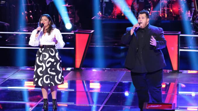 """THE VOICE -- """"Blind Auditions/Battle Rounds"""" Episode 1707 -- Pictured: (l-r) Melinda Rodriguez, Shane Q -- (Photo by: Justin Lubin/NBC)"""