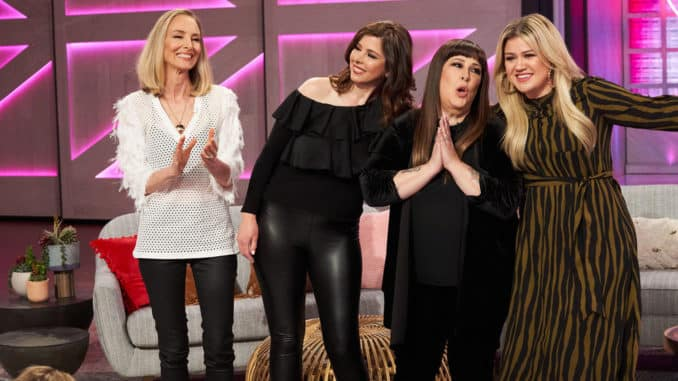 THE KELLY CLARKSON SHOW -- Episode 3097 -- Pictured: (l-r) Chynna Phillips, Wendy Wilson, Carnie Wilson, Kelly Clarkson -- (Photo by: Adam Christopher/NBCUniversal)