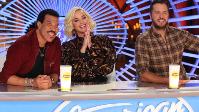 AMERICAN IDOL - ÒAmerican IdolÓ returns to ABC for season three on SUNDAY, FEB. 16 (8:00-10:00 p.m. EST), streaming and on demand, after dominating and claiming the position as SundayÕs No. 1 most social show in 2019. Returning this season to discover the next singing sensation are music industry legends and all-star judges Luke Bryan, Katy Perry and Lionel Richie, as well as Emmy¨-winning producer Ryan Seacrest as host. Famed multimedia personality Bobby Bones will return to his role as in-house mentor. (ABC/Scott Patrick Green) LIONEL RICHIE, KATY PERRY, LUKE BRYAN