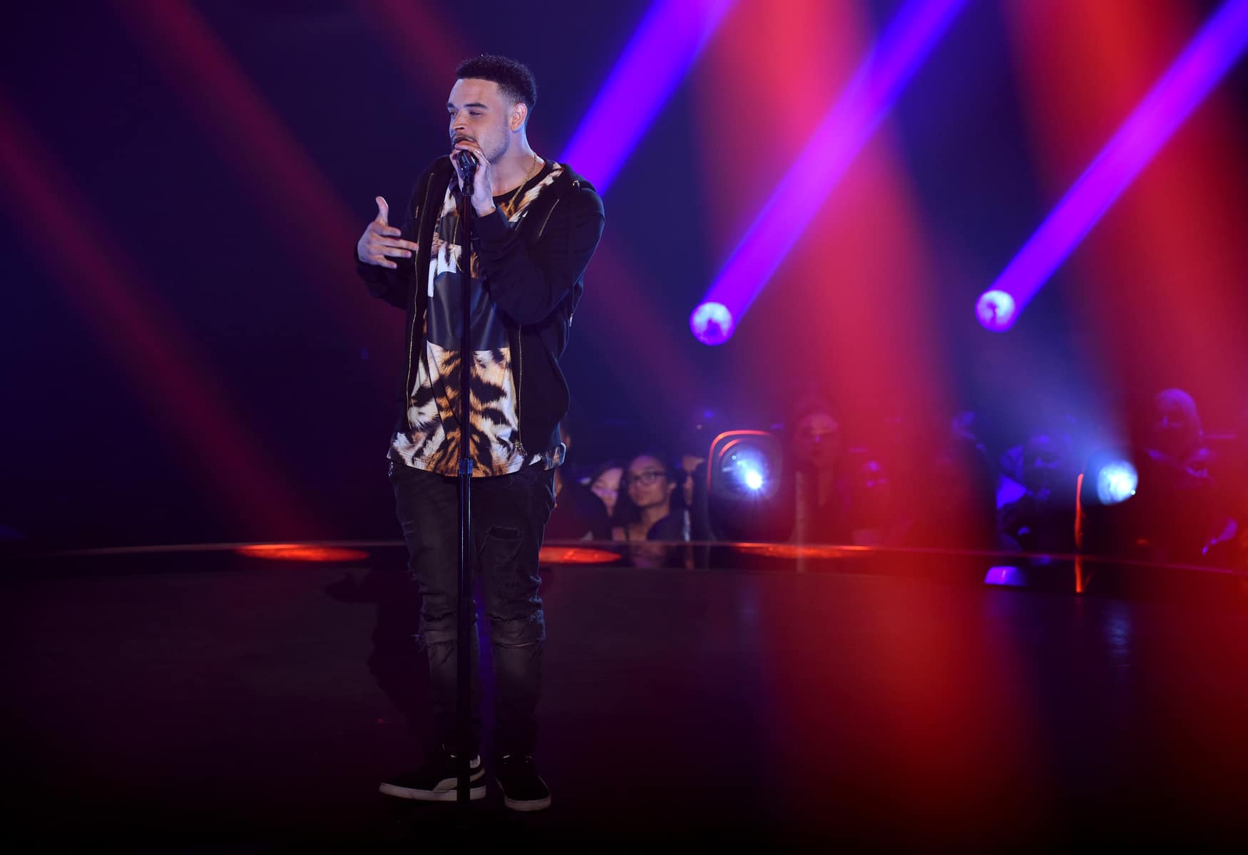 "THE FOUR: BATTLE FOR STARDOM: Challenger Ebon Lurks performs in the ""Week Seven"" episode of THE FOUR: BATTLE FOR STARDOM airing Thursday, July 26 (8:00-10:00 PM ET/PT) on FOX. CR: Ray Mickshaw / FOX. © 2018 FOX Broadcasting Co."